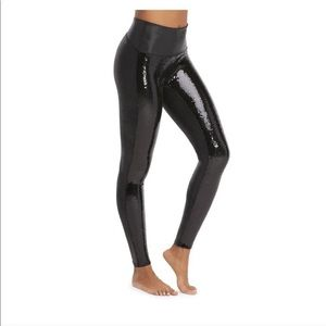 NWT SPANX Faux Leather Sequin Legging